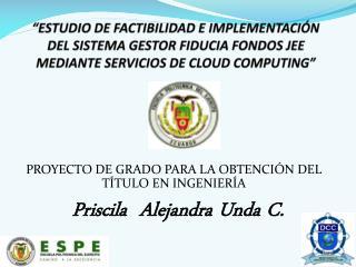PROYECTO DE GRADO PARA LA OBTENCI�N DEL T�TULO EN INGENIER�A