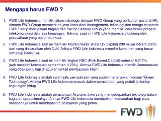 Mengapa harus FWD ?