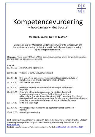 Kompetencevurdering  – hvordan gør vi det bedst? Mandag d. 19. maj 2014, kl. 12.30-17
