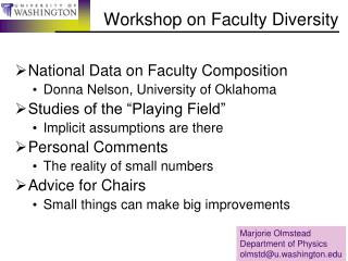 Workshop on Faculty Diversity