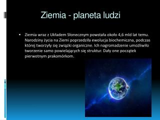 Ziemia - planeta ludzi