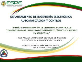DEPARTAMENTO DE INGENIERÍA ELECTRÓNICA AUTOMATIZACIÓN Y CONTROL