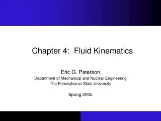 Chapter 4:  Fluid Kinematics
