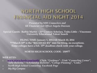 North High School  Financial Aid Night 2014