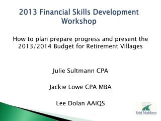 2013 Financial Skills Development Workshop