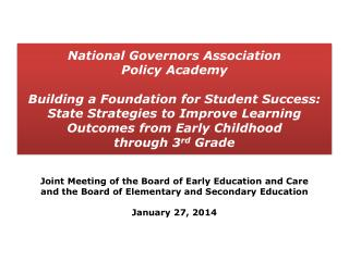 Joint Meeting of the Board of Early Education and Care