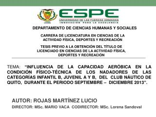 AUTOR: ROJAS MARTÍNEZ LUCIO DIRECTOR:  MSc.  MARIO VACA CODIRECTOR:  MSc.  Lorena Sandoval