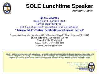John D. Newman Deployability  Engineering Chief Surface Deployment and