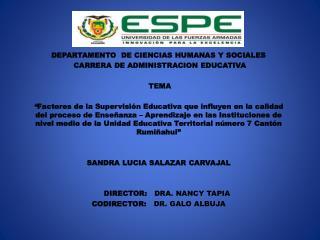 DEPARTAMENTO  DE CIENCIAS HUMANAS Y SOCIALES CARRERA  DE ADMINISTRACION EDUCATIVA TEMA