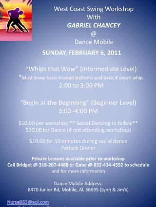 West Coast Swing Workshop With  GABRIEL CHANCEY @ Dance Mobil e