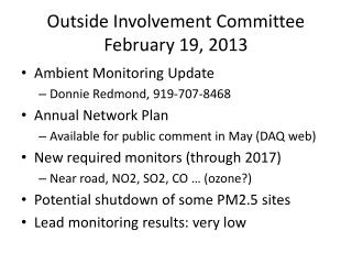 Outside Involvement Committee February 19, 2013