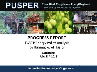 PROGRESS REPORT  TWG  I: Energy Policy Analysis by  Rahmat  A. Al  Hasibi