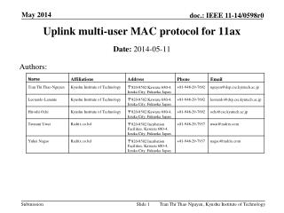 Uplink multi-user MAC protocol for 11ax