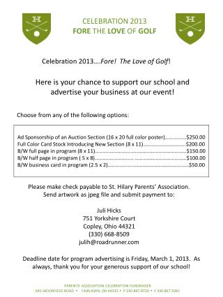 Celebration 2013…. Fore!  The Love of Golf !