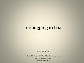 debugging  in  Lua