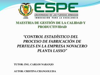 MAESTRIA DE GESTIÓN DE LA CALIDAD Y PRODUCTIVIDAD