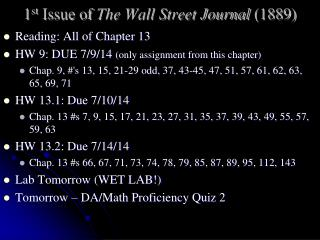 1 st  Issue of  The Wall Street Journal  (1889)