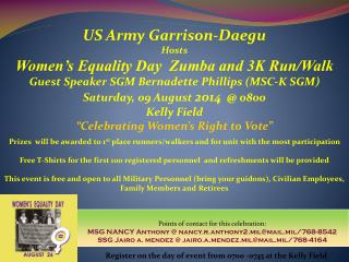 US Army Garrison-Daegu Hosts Women's Equality Day  Zumba and 3K Run/Walk