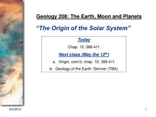 GEOL 208 Lecture 1