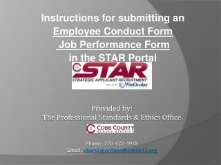 Instructions for submitting an Employee  Conduct Form  Job Performance Form in the STAR Portal