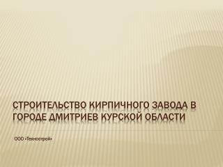Строительство кирпичного завода в городе Дмитриев Курской области