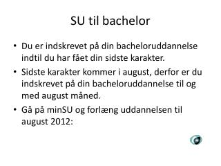 SU til bachelor