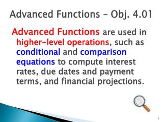 Advanced  Functions � Obj. 4.01