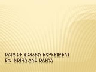 Data of Biology Experiment By: Indira and danya