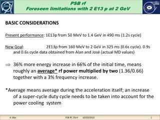 PSB rf Foreseen limitations with 2 E13 p at 2 GeV