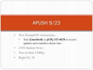 APUSH 9/23