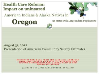 August  31 , 2012 Presentation of American Community Survey Estimates