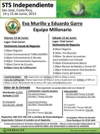 Sábado  15  de  Junio :  Lugar :  Club Cariari e  Negoc Vestimenta  de  Negocios  8:00am Registro