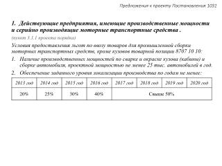 Предложения к проекту Постановления 1031