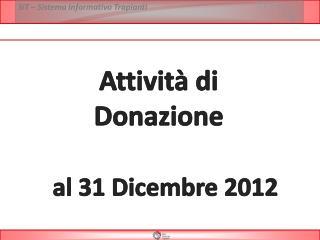 Attività di  Donazione  al  31  Dicembre 2012