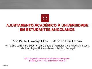 AJUSTAMENTO  ACAD�MICO � UNIVERSIDADE EM ESTUDANTES ANGOLANOS