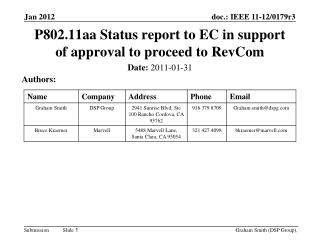 P802.11aa Status report to EC in support of approval to proceed to RevCom