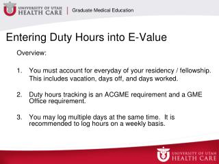 Entering Duty Hours into E-Value