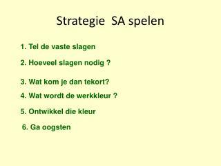 Strategie  SA spelen