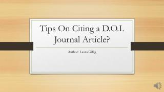 Tips On Citing a D.O.I. Journal Article?
