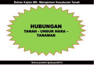 HUBUNGAN  TANAH - UNSUR HARA – TANAMAN