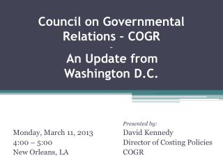 Council on Governmental Relations – COGR ~ An Update from Washington D.C.