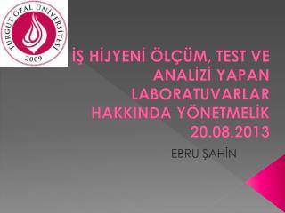 İŞ HİJYENİ ÖLÇÜM, TEST VE ANALİZİ YAPAN LABORATUVARLAR HAKKINDA YÖNETMELİK 20.08.2013