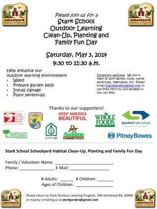 Please join us for a Stark School  Outdoor Learning Clean-Up, Planting and  Family Fun Day