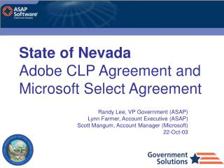 State of Nevada Adobe CLP Agreement and Microsoft Select Agreement