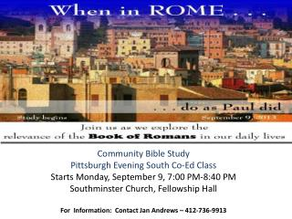 Community Bible Study Pittsburgh Evening South Co-Ed Class