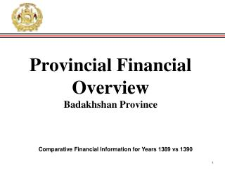 Provincial Financial Overview Badakhshan  Province