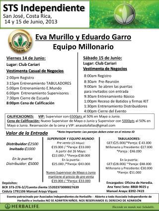 Sábado  15  de  Junio:  Lugar :  Club Cariari e Negoc Vestimenta  de  Negocios 8:00am Registro