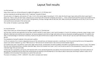 Layout Tool results