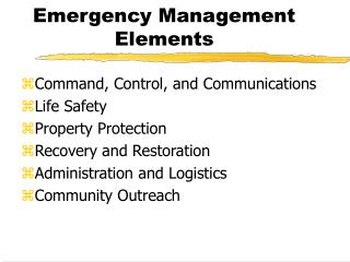 Emergency Management Elements