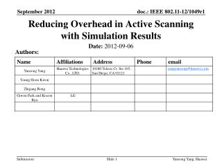 Reducing Overhead in Active Scanning with Simulation Results